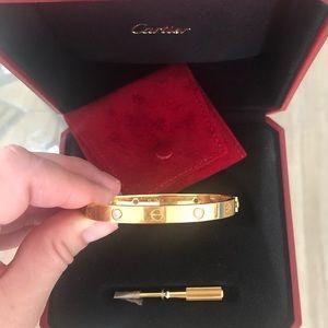 "Authentic Cartier Love Bracelet with diamonds 17"""